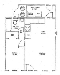 A1 Floor Plan 1 bedroom 1 bath. Bedroom is 12 by 8 square feet. Laundry room off the kitchen. open kitchen.