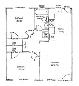C Floor Plan-2bedroom-1bath. Bedrooms are about 10 by 11 and 10 by 10 square feet
