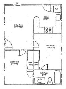 D Floor Plan 2Bed 1 Bath. Bedrooms are each about 12 by 7.5 square feet